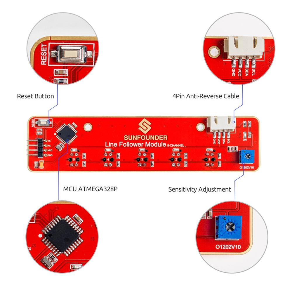 SunFounder I2C 5-Channel Line Tracking Sensor Infrared IR Detection Module  for Arduino Raspberry Pi Car Robot