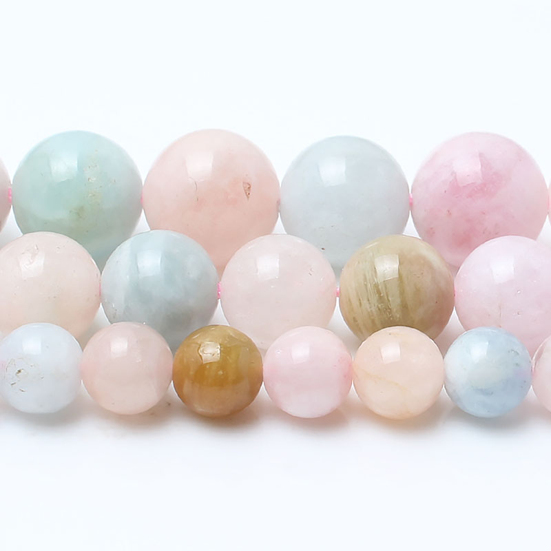 Natural morganite Stone Round Loose Beads For Jewelry Making 15inches strand 6 8 10mm Beads Making Bracelet Diy Jewelry in Beads from Jewelry Accessories
