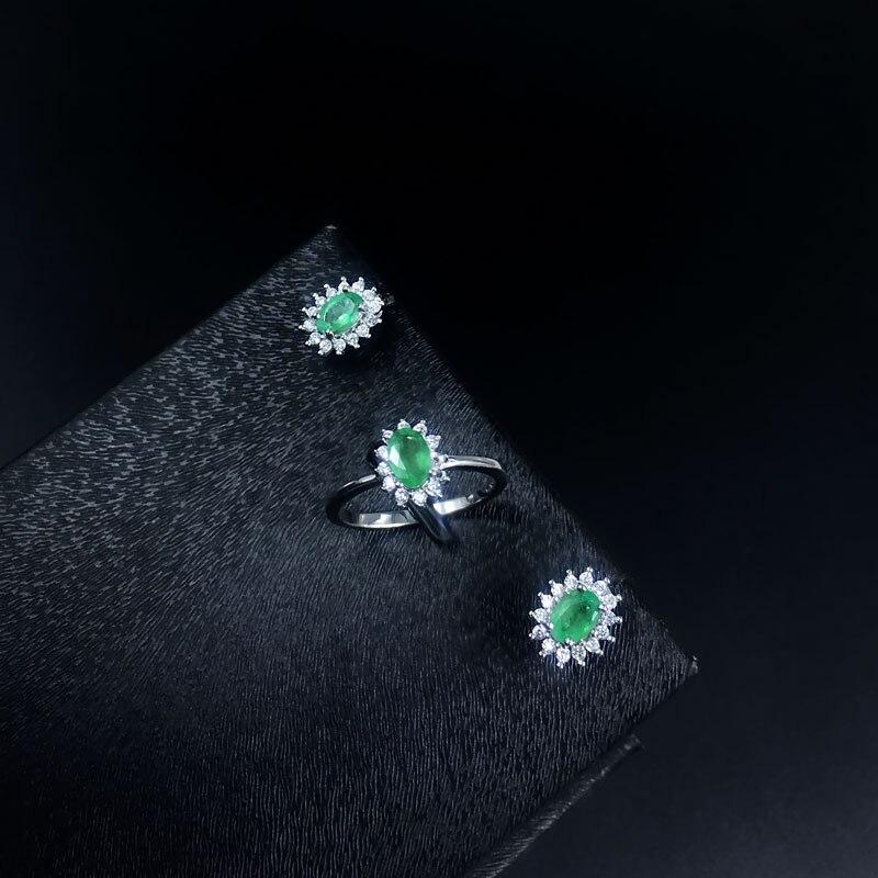 Natürlicher Smaragdschmuck Set Massiv 925 Sterling Silber Frau Stein - Edlen Schmuck - Foto 3