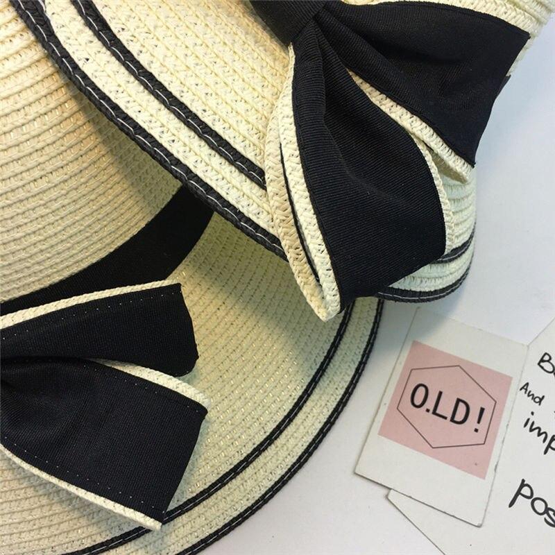 New Women Summer Parent-child Women Casual Daily Baby Kids Girl Beach Bow Straw Flat Brim Sun Hat Cap #4F09 (25)