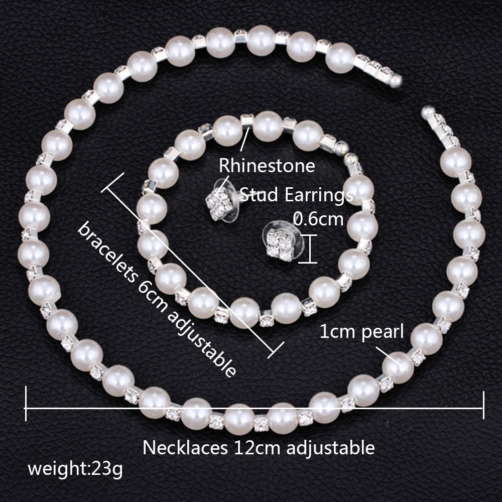 23f85349d6893 AINAMEISI Fashion Wedding Prom Bridal Pearl Jewelry Sets For Women Gift  Silver Crystal Necklace Earrings Bracelet Jewelry set