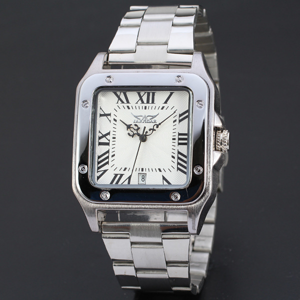 Jaragar Brand Auto Mechanical Men Clocks Luxury Full Stainless Steel Roman Number Concise Business Square Wrist Watches RelogioJaragar Brand Auto Mechanical Men Clocks Luxury Full Stainless Steel Roman Number Concise Business Square Wrist Watches Relogio