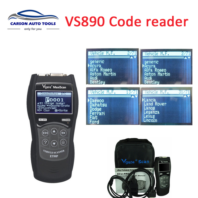 US $36 99 |Aliexpress com : Buy 2017 Vgate MaxiScan VS890 automotive  scanner OBD2 Scanner Universal Code Reader Multi language Car diagnostic  tool