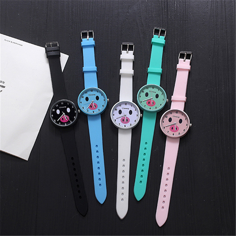 Women Watches Cute Pig Leisure Sports Cartoon Watch Candy Colored Jelly Silicone Quartz Wristwatch Girl Ladies Clock Gift