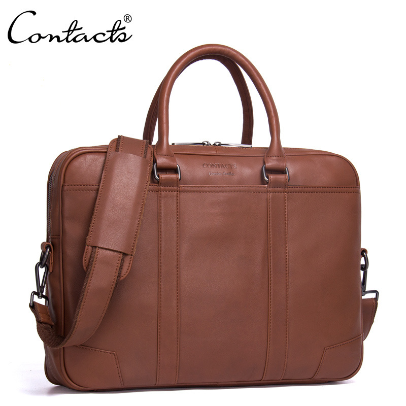 CONTACT'S Genuine Leather Shoulder Bags Fashion Men Messenger Bag Small ipad Male Tote Vintage New Crossbody Bags Men's Handbag zznick genuine leather shoulder bags fashion men messenger bag small ipad male tote vintage new crossbody bags men s handbag