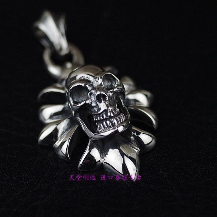 Thailand, Skull Cross Men's Silver Pendant thailand imports skull blood new skeleton silver ring