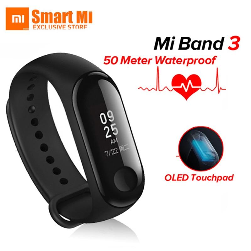 Original Xiao mi mi bracelet 3 bracelet intelligent Fitness mi bande 3 grand écran tactile OLED Message fréquence cardiaque temps Smartband