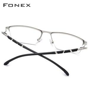 Image 3 - Legierung Gläser Rahmen Männer Ultraleicht Halben Platz Myopie Brillen 2019 Heißer Silikon Optische Rahmen Schraubenlose Brillen