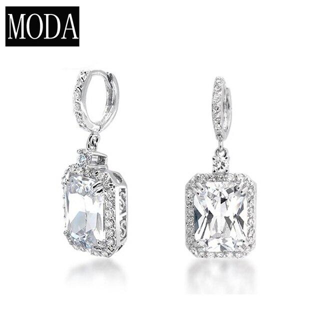 d2f6c59a5 Wholesale Bridal Women Earrings Emerald Cut CZ Dangle Earring Simulated  Diamonds White Drop Bridal Earrings Jewelry MOE-0003-R