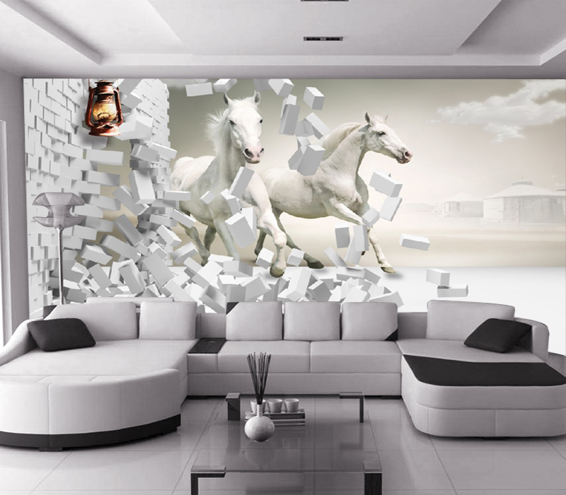 Custom Animal Papel Murals White Horse&bricks 3d Wallpaper 5d Wall Mural for Sofa Background Living Room 3d Wall Photo Mural custom baby wallpaper snow white and the seven dwarfs bedroom for the children s room mural backdrop stereoscopic 3d