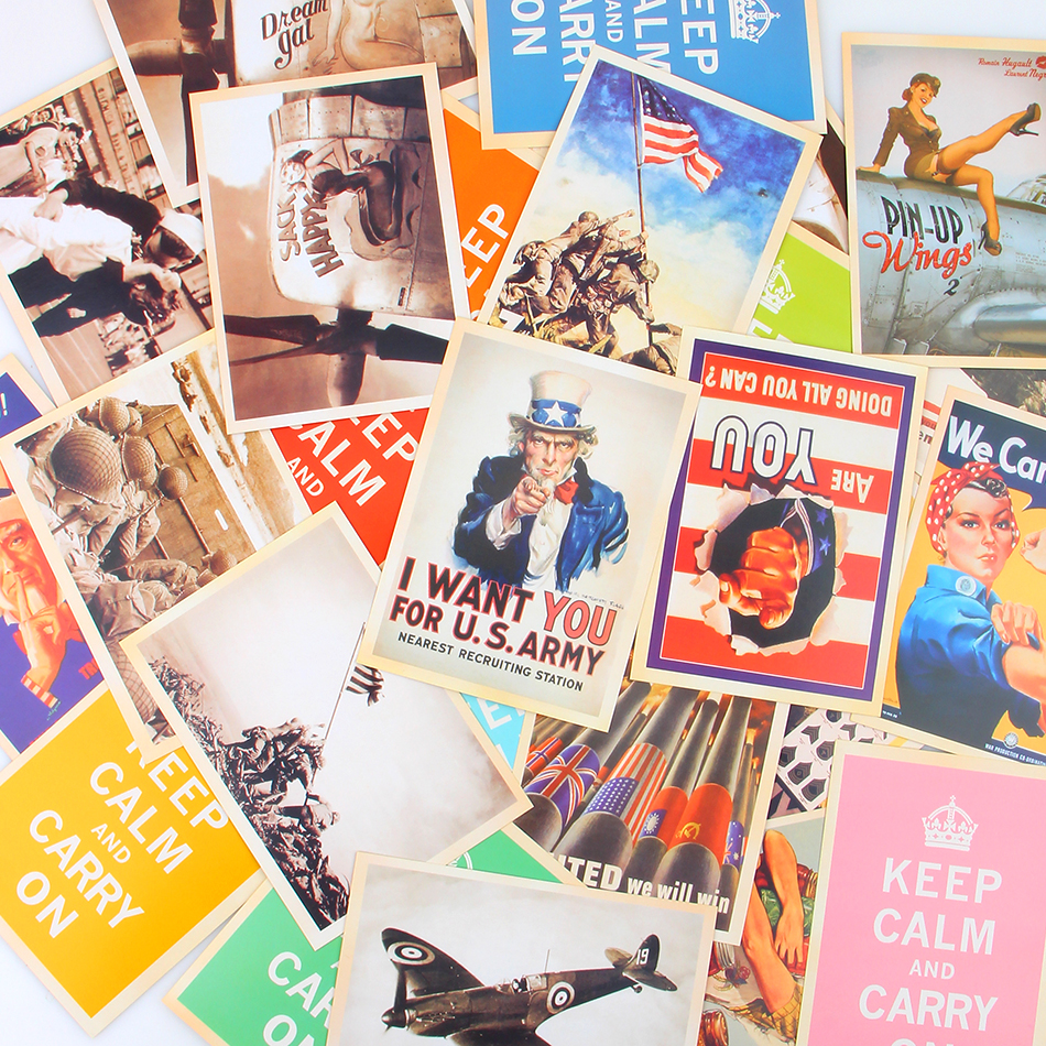 32pcs/set Bookmarks 10*14 Cm Vintage Style Ww2 Military Theme Postcards Gift Greeting Cards/classic Posters
