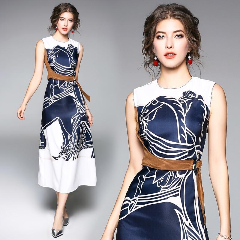 2018 New Spring Autumn Fashion Europe Style Womens Clothing Flowers Printing Sleeveless Dress Sashes A-line Long Dresses Female