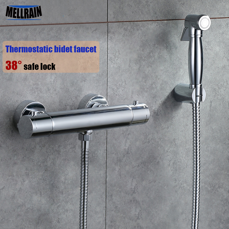 Thermostatic control bathroom & toilet bidet faucet wall mounted brass chrome plated thermostatic faucet sprayer shower head free shipping high quality bathroom toilet paper holder wall mounted polished chrome