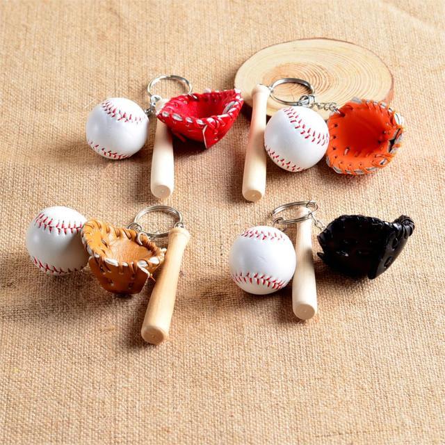 Мини три части бейсбольные перчатки деревянный брелок с битой спортивный автомобиль брелок для ключей подарок для мужчин и женщин оптовая продажа 1-17168