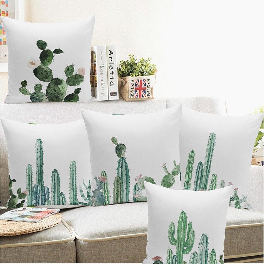 Dropshippig Africa Tropical Plant Cushion Covers Cactus Lint Pillowcase Seat Decor Car/Chair/Office Sofa Pillow Covers 45x45cm