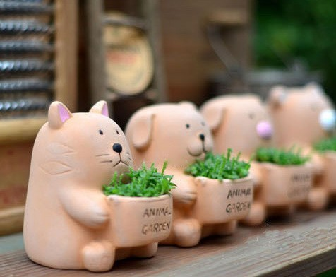 New 2014 Ikea Style Zakka Super Meng Small Animal Clay Potsfour