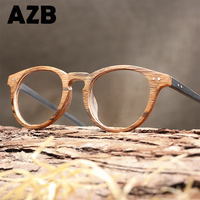 AZB High Quality Vintage Clear Lens Glasses Cat Eye Wood Frames Men Computer Reading Eyewear Frames
