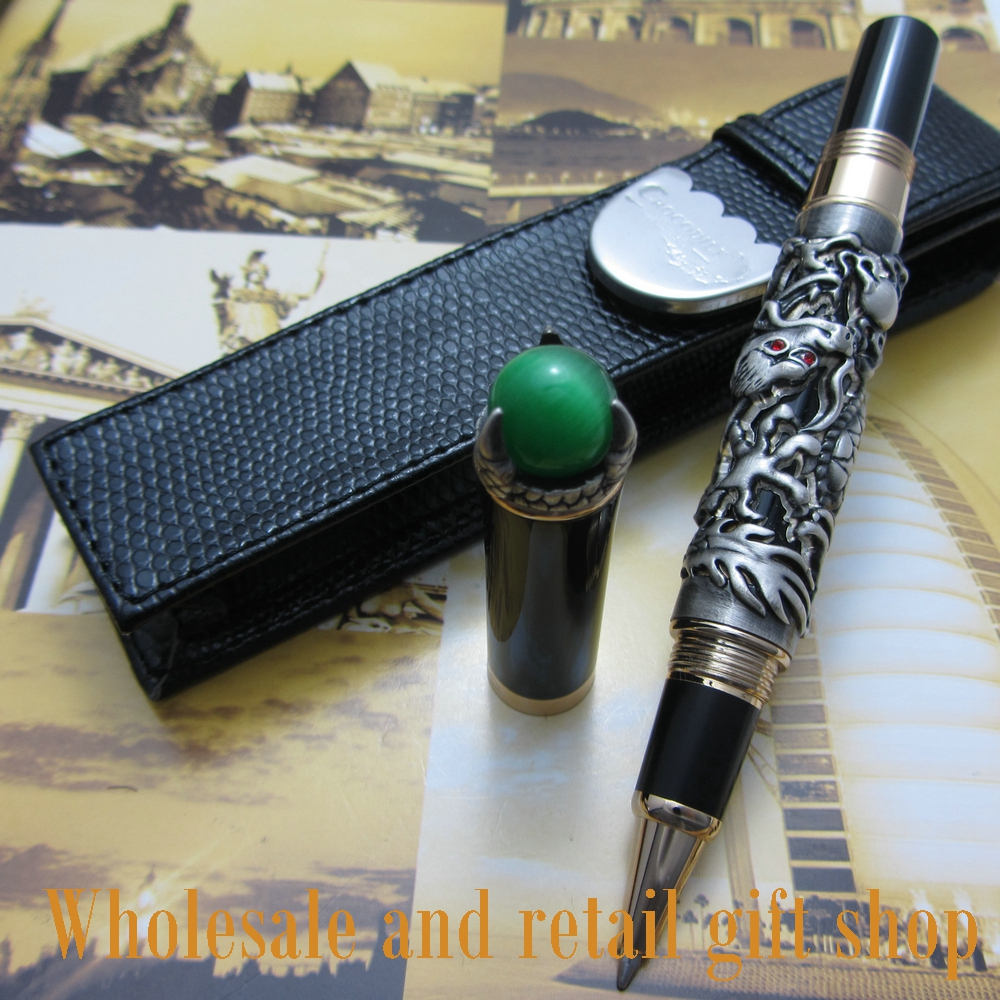 Jinhao H600 dragon king play pearl rollerBall Pen beautiful retro culture metal gift pen With pen bag jinhao gift pen pure with dragon pattern metal roller ball pens luxury oriental dragon ballpoint pen for gift gel pen