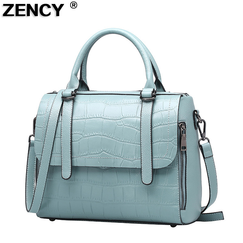 ZENCY Summer Small Women Genuine Leather Tote Bag Luxury Famous Brands Crocodile Pattern Handbag Woman Shoulder Messenger Bag women crocodile embossed bag handbags 100% genuine cow leather for women handbag flaps shoulder tote messenger bag famous brands