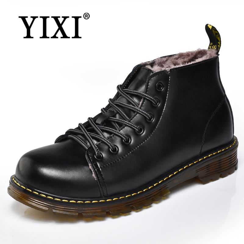 YIXI 2018 work footwear Genuine Leather Men Boots Dr Martin Boots snow winter ankle warm shoes safety man botas hombre invierno цена