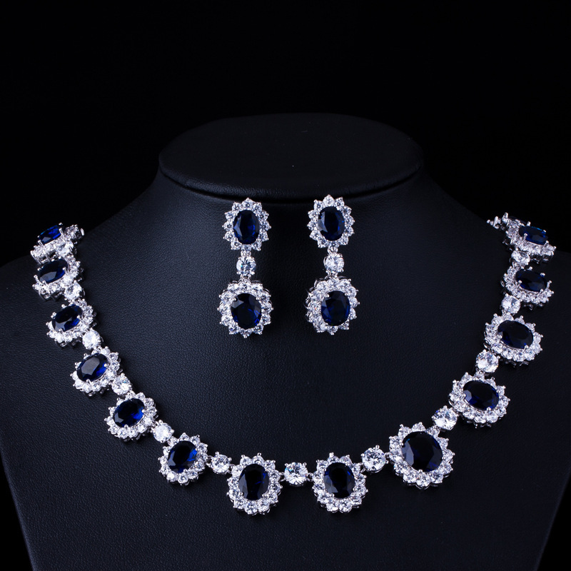 High End Banquet Sapphire Jewelry Set Micro Inlay Dark