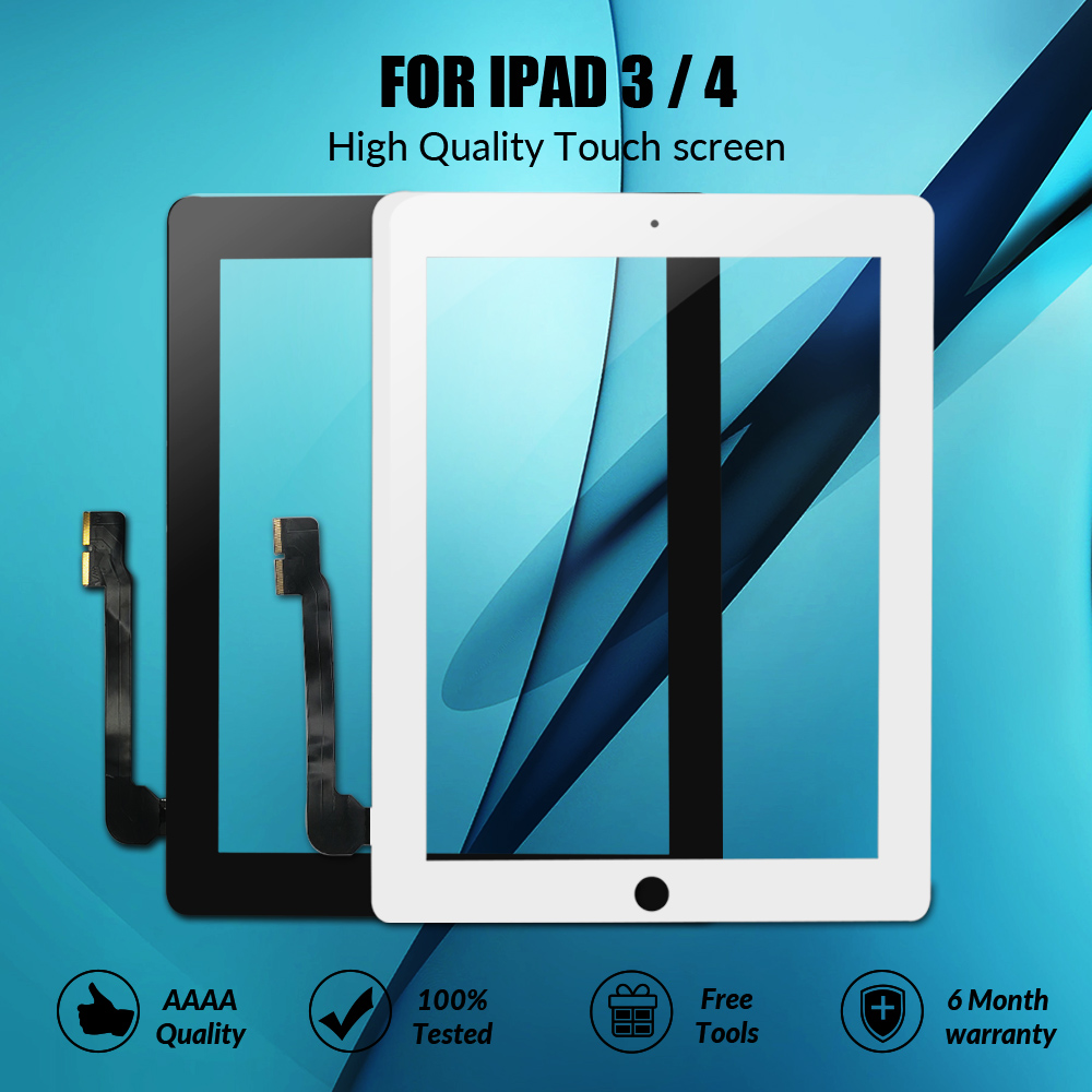 New Touch Screen For IPad 3 4 IPad3 IPad4 A1416 A1430 A1403 A1458 A1459 A1460 Digitizer Sensor Glass Panel With Home Button