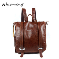 NBSAMENG 2018 New Casual Genuine Cowhide Leather Men Laptop Backpacks Travel School Large Bags Backbag Mochila Masculina