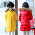 Winter Girl's Down jackets/coats Russia baby Coats Girl's thick duck Warm jacket with fur Children Outerwears -30degree D12