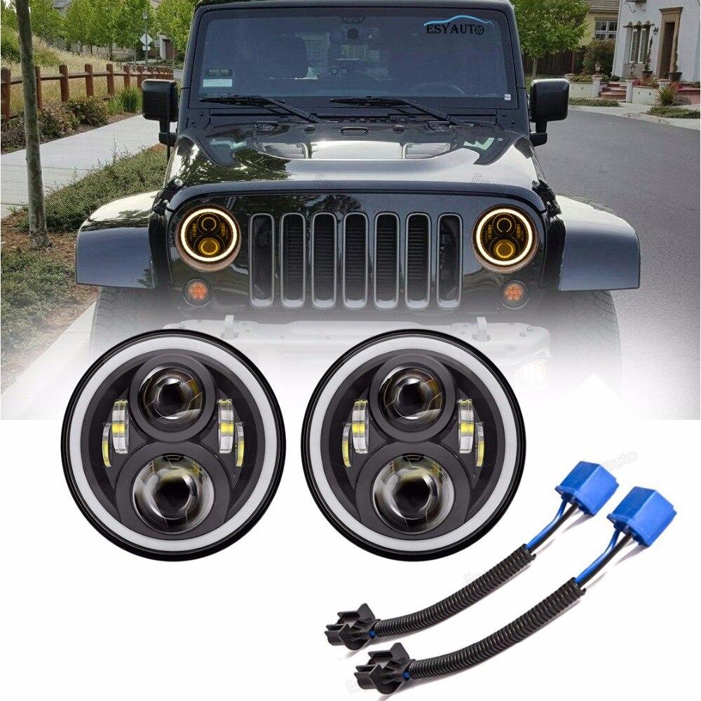 2Pcs/Set 7 inch Headlight 60W Angel eyes white DRL yellow Lighting LED Headlamp Hi/Lo Beam 7 Headlight for Jeep Wrangler