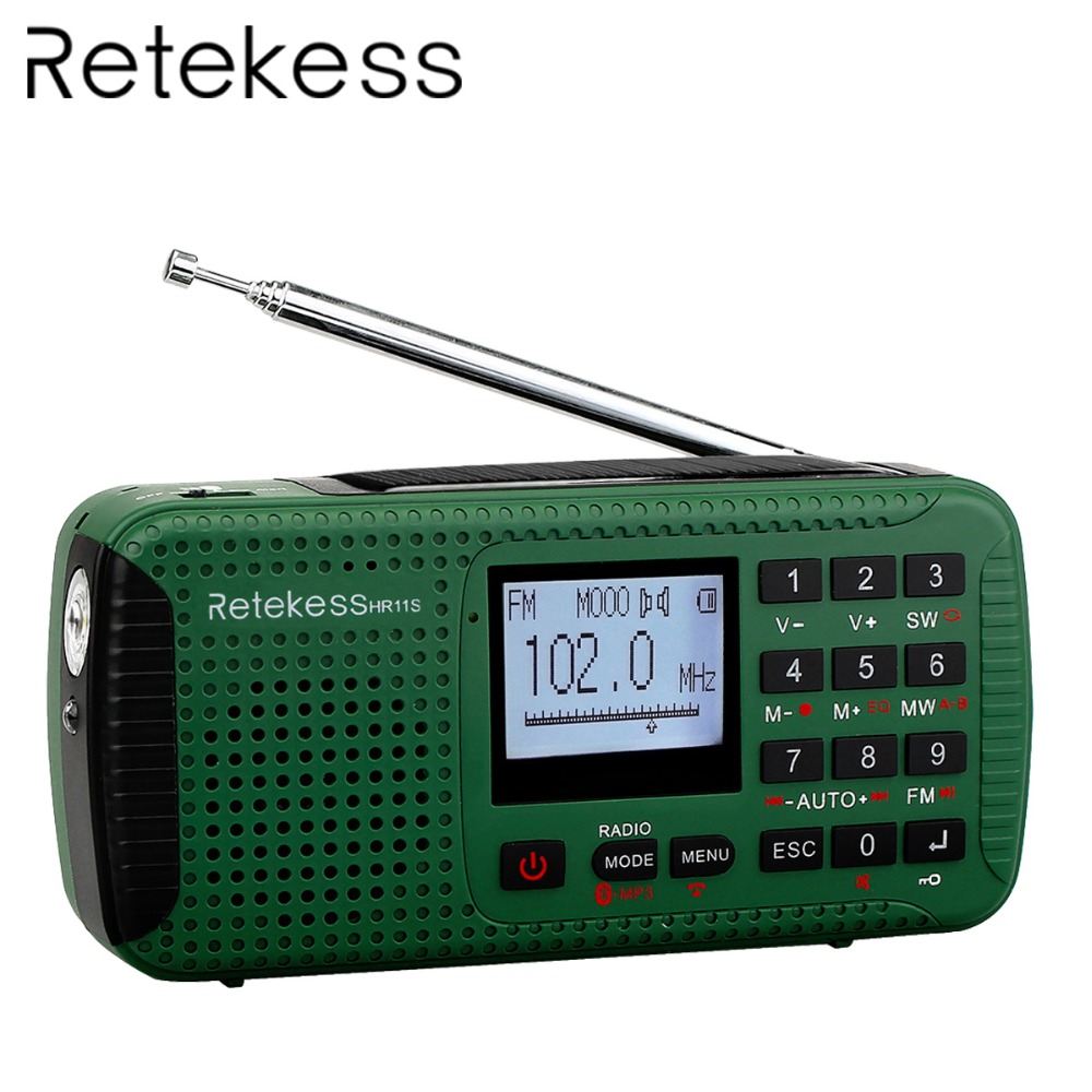 Retekess HR11S Gravador Digital Portátil FM / MW / SW Manivela Estação de Rádio de Alerta Solar de Emergência Bluetooth Music Player F9208G