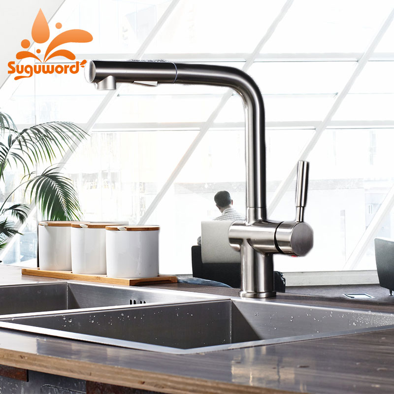 US $75.16 47% OFF|Suguword Brushed Nickel Kitchen Sink Faucet Hot and Cold  Deck Mounted Mixer Tap One Holder One Hole 2 Function Modes-in Kitchen ...