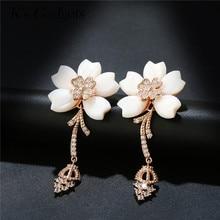 K's Gadgets Rose Gold Color Crystal Shell Flower Earrings For Women Bijoux Vintage Wedding Earring Statement Brinco Bijouterie