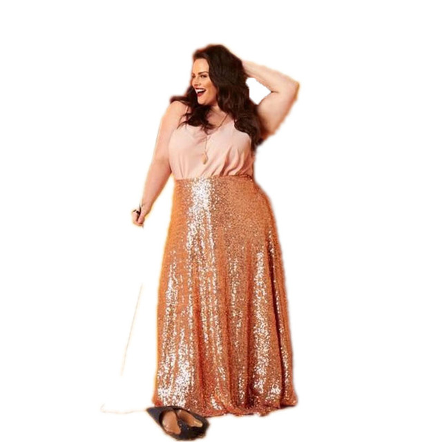 0f8b0147bbc Rose Gold Sequin Skirts Plus Size Floor Length Long Maxi Skirts Womens  Shiny Sequins Pencil Skirt Custom Made Any Size Free