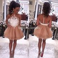White And Champagne Short Party Dresses O Neck Sleeves Appliques Mini Cute Cocktail Dresses