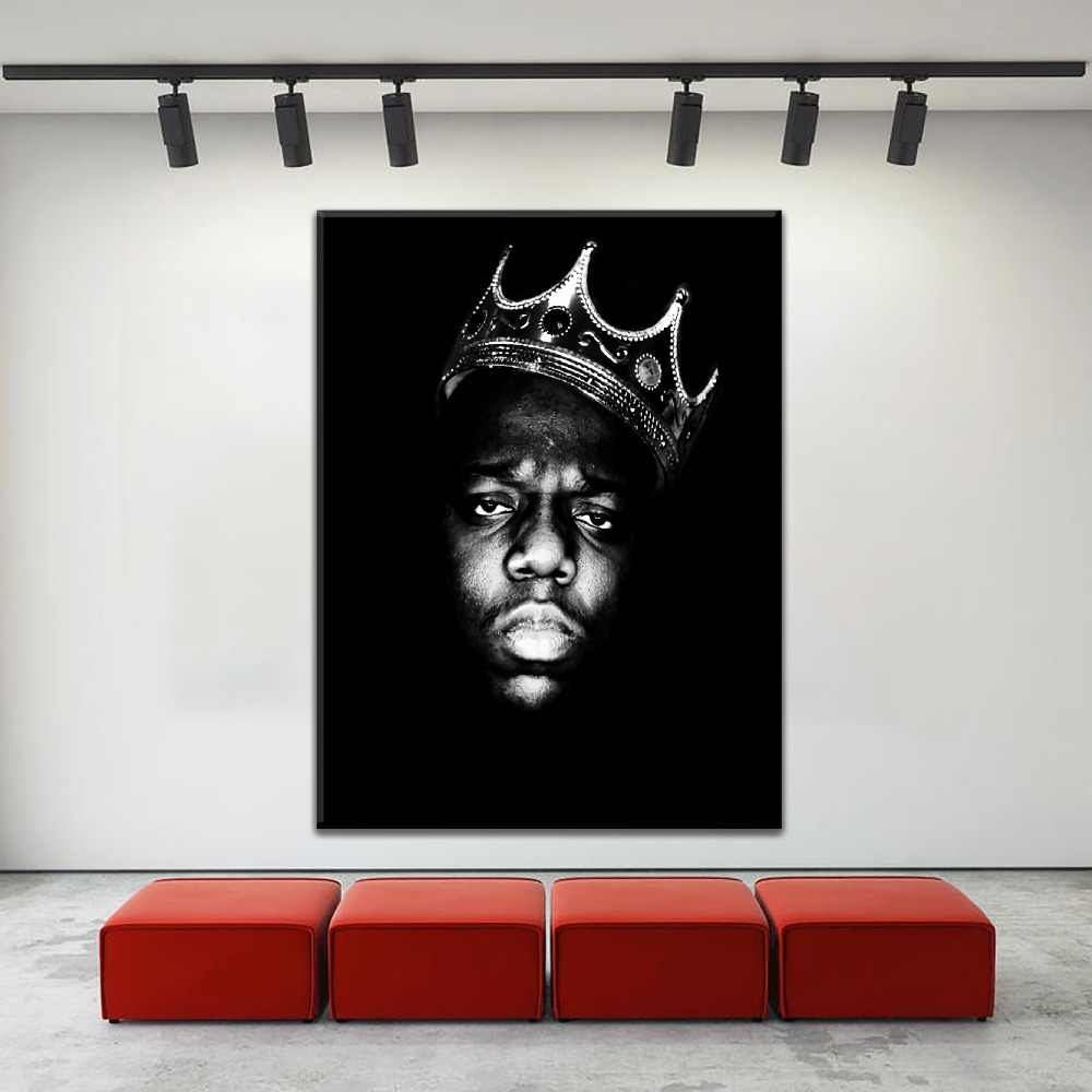 Canvas HD Prints Paintings Home Decor Framework 1 Piece Rapper King Biggie Smalls Tupac Shakur Poster For Fans Bedroom Wall Art