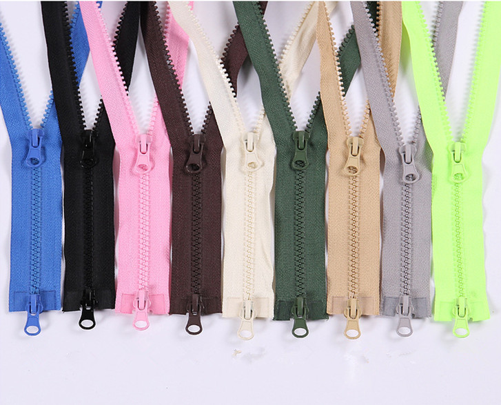 5# 80/90/100/120/150cm open-end auto lock ECO double sliders plastic resin colorful zipper for clothes garment