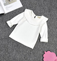 high quanlity baby Boys Girls Fleece Lotus leaf collar Solid Long sleeve shirt o neck Tee Kids Clothing Toddler children clothes