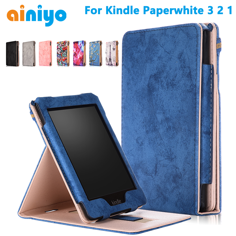 2018 New E-book Case For Kindle Paperwhite Protective Cover For Amazon Kindle Paperwhite 3 2 1 PU Leather Protector Sleeve 6