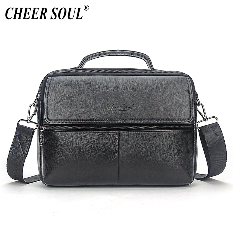CHEER SOUL Genuine Leather Men s Office Handbag Business Briefcase Messenger Bag Male Shoulder Crossbody Bags