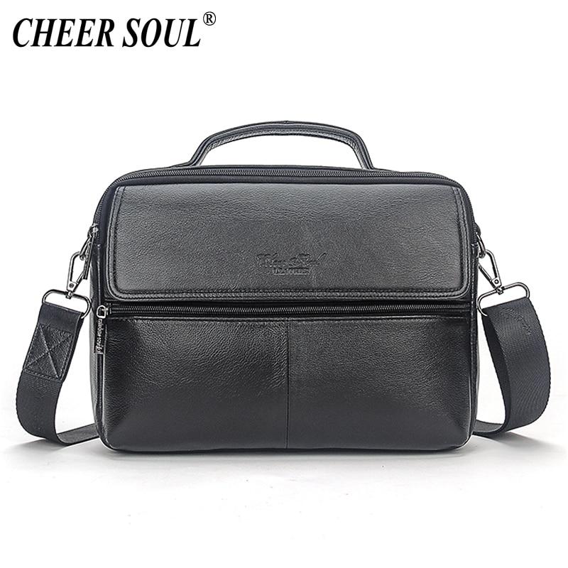 купить CHEER SOUL Genuine Leather Men's Office Handbag Business Briefcase Messenger Bag Male Shoulder Crossbody Bags For Men Tablet Bag онлайн