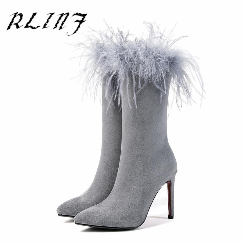 Pointu Bottes Talons À De Femmes Bottes gris Plumes Rlinf Mode Hauts Gris Noir 5Y4nqRdvx