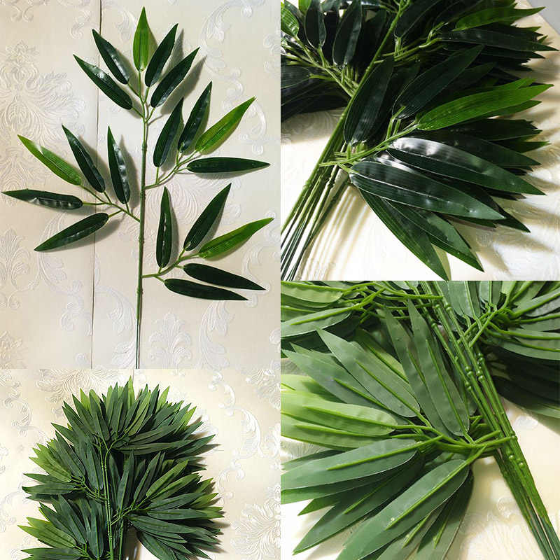 Green Fake 1PC/5PCS/10PCS for Home Office Artificial Hot Sale Bamboo Leaves Decoration Hotel Greenery Leaves Green Plants