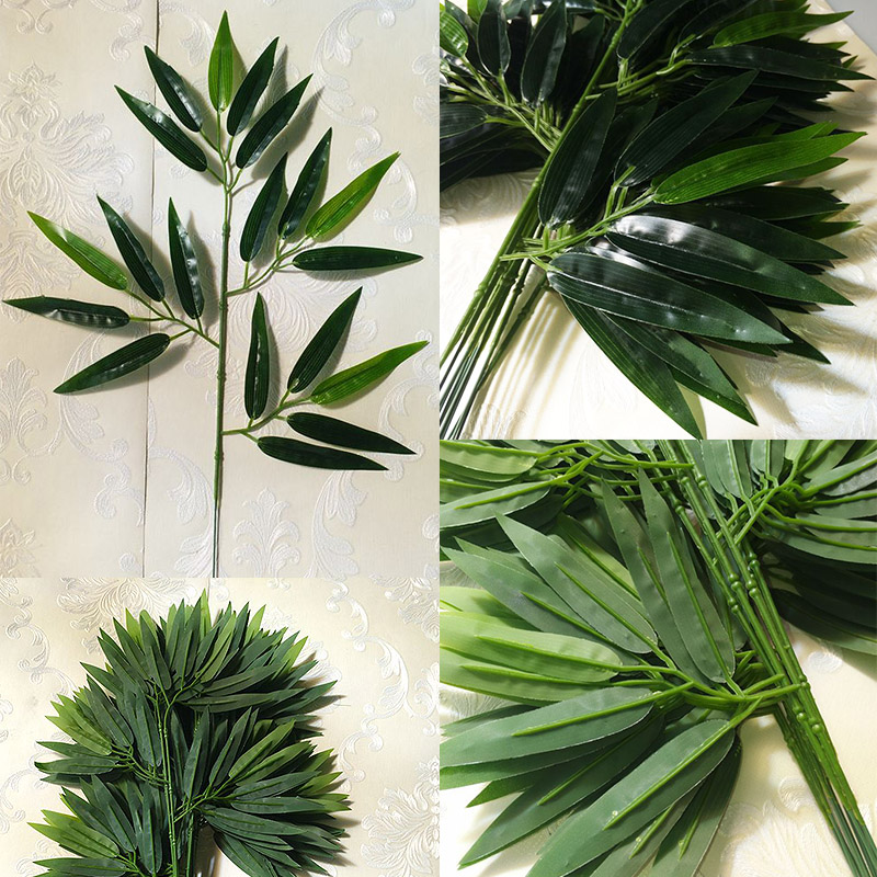 Green Fake 1 PCS For Home Office Artificial Hot Sale Bamboo Leaves Decoration Hotel Greenery Leaves Green Plants