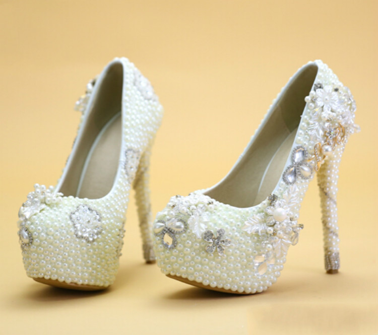 2016 new font b wedding b font shoes Bridal shoes white high heeled Pearl font b