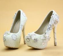 2016 new wedding shoes Bridal shoes white high heeled Pearl wedding photographs wedding dress shoes