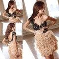 Nueva llegada Glamours Sexy espalda abierta corto moda apliques de encaje de plumas vestido de fiesta para