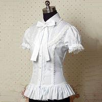 Classic Summer Short Sleeves Cotton Lace Lolita Shirts Tops Costume Vintage Victorian Blouse Elegant Sweet Slim Fit Shirt