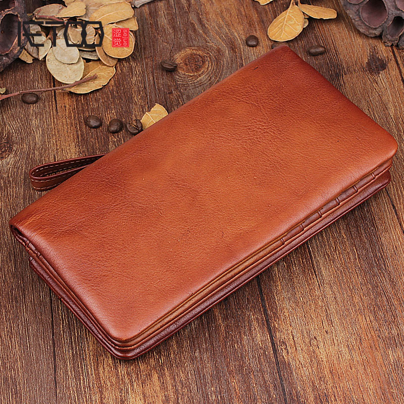 AETOO Handmade retro wallet long wallet leather youth first layer leather handbag vegetable tanned wallet men and women models olg yat handbag men wallets handmad purse long zipper vegetable tanned genuine leather wallet mens handbags cowhide bags retro