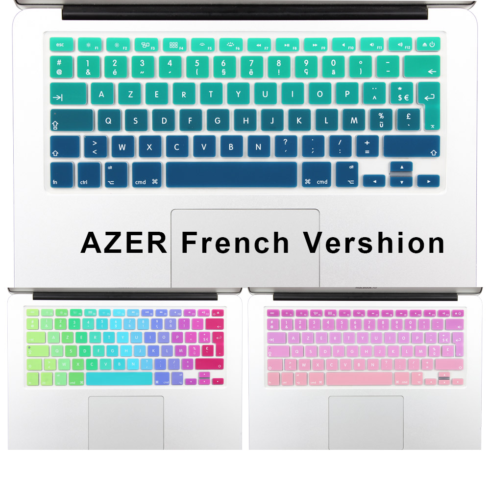"2016 Gradient Color Silicone French AZERTY Keyboard Cover Skin film til Macbook Pro 13 ""15"" 17 ""Air 13"" imac Trådløst tastatur"