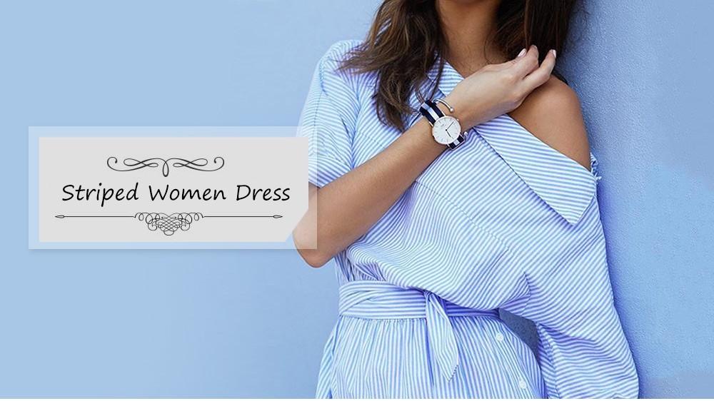 VESTLINDA Shirt Dress Women Summer Vestidos De Festa One Shoulder Half Sleeve Stripper Dress Sashes Mini Short Casual Dress 7